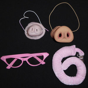 4-PC PIG SNOUT SET NOSE CURLY TAIL COSTUME